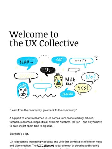 Welcome to the UX Collective Thumbnail Preview