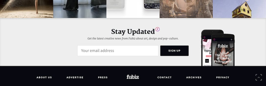 Fubiz Newsletter Sign Up Box