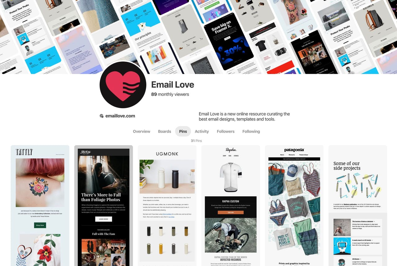 Email Love - pinterest Screenshot