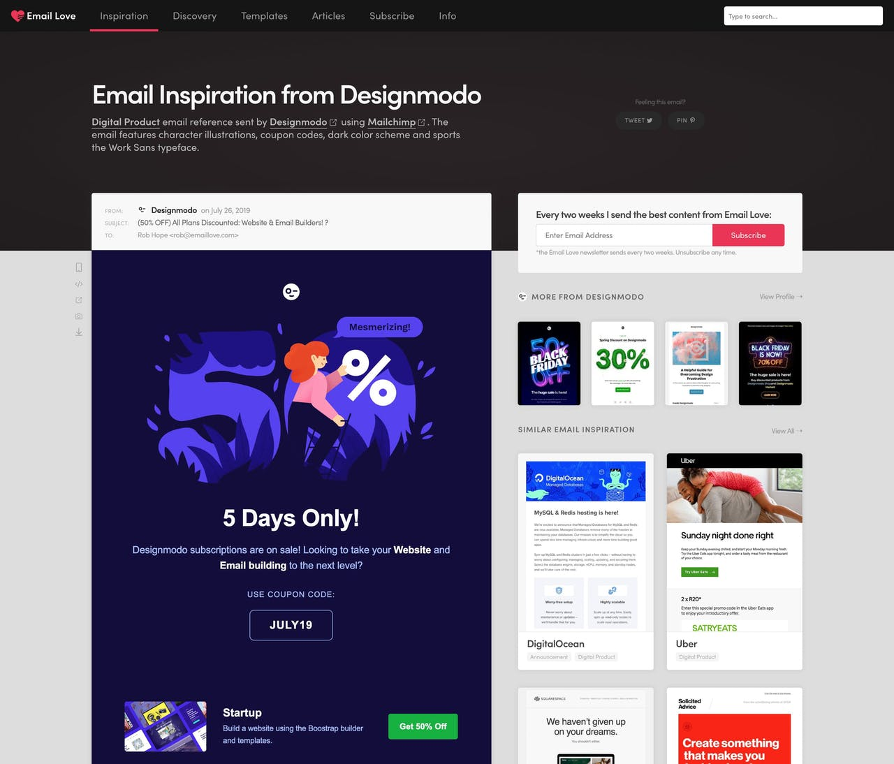 Email Love - email inspiration overview Screenshot