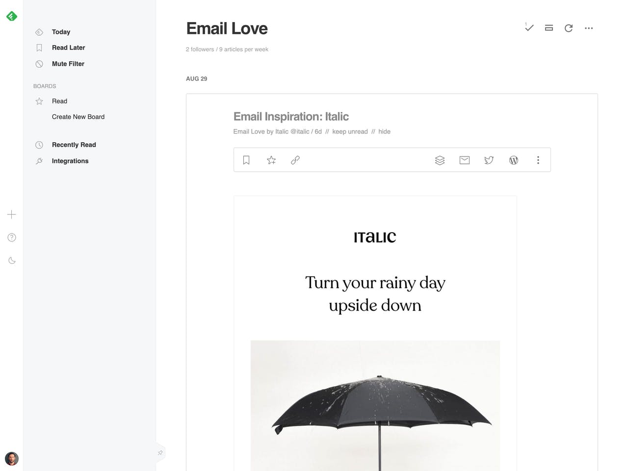 Email Love RSS feed preview on feedly Screenshot
