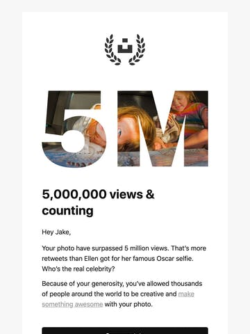 5,000,000 views on your Unsplash photos Thumbnail Preview