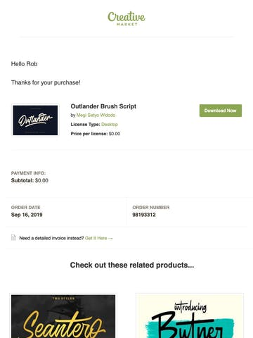 Receipt for your Creative Market purchase Thumbnail Preview