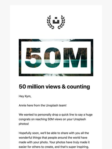 50 million views on your Unsplash photos Thumbnail Preview